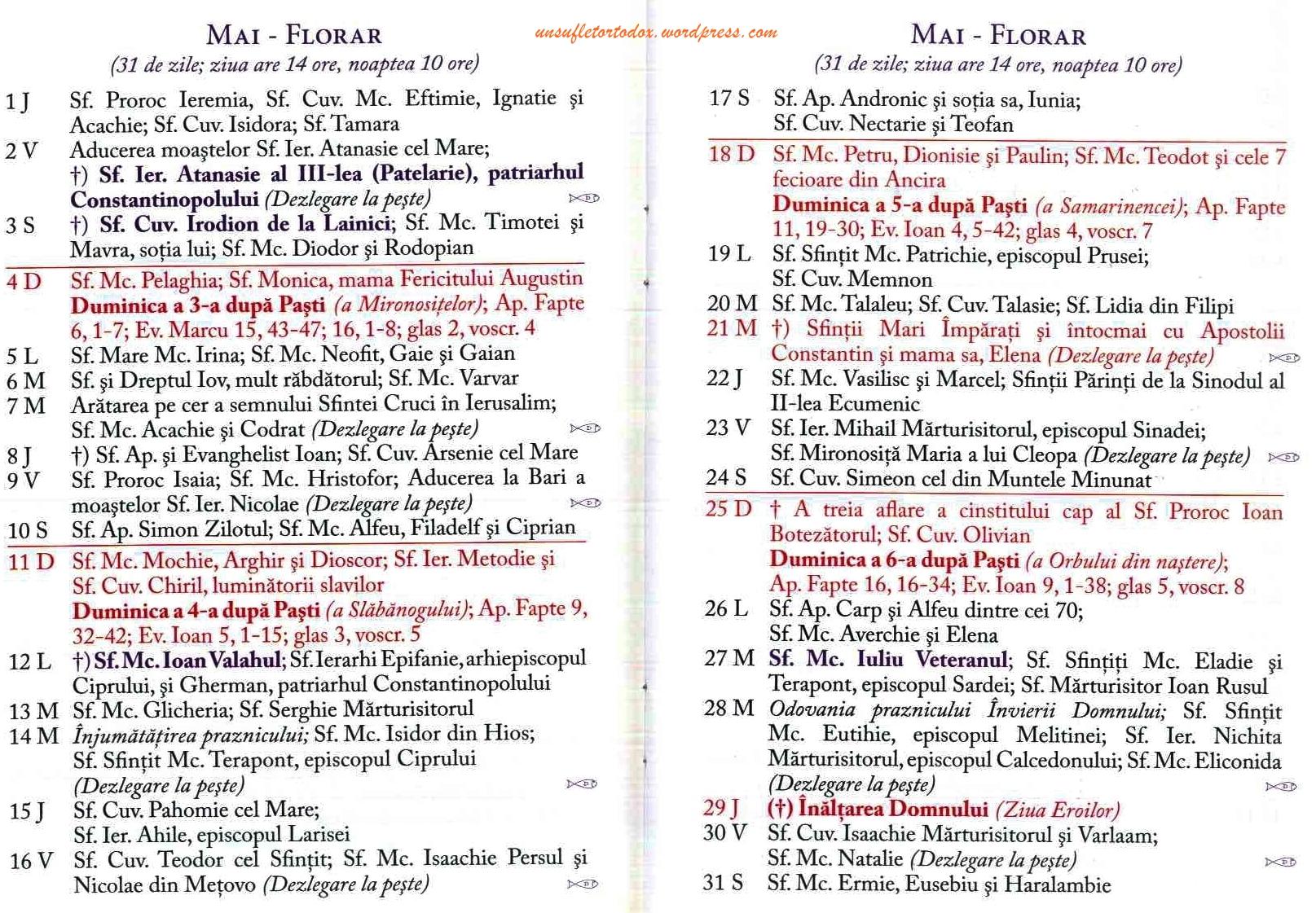 Calendar ortodox mai