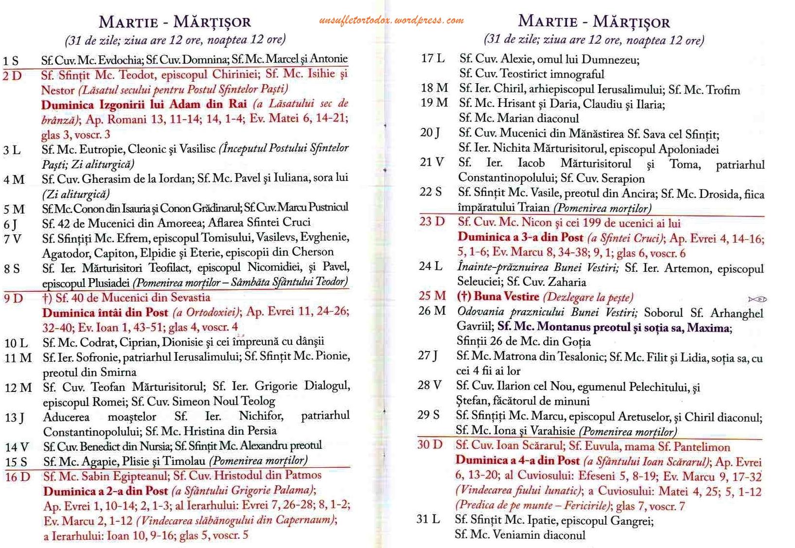 Calendar Ortodox – 2014
