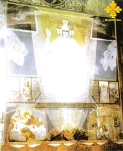 Invierea Domnului. Pictura in tempera, de leromonah Arsenie Boca. Biserica din satul Draganescu, de langa Bucuresti- USO